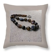 3595 Tigereye And Bali Sterling Silver Necklace Throw Pillow