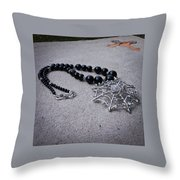3596 Spiderweb Rhinestone Pendant Necklace Throw Pillow
