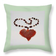 3610 Iridescent Copper Plated Cottonwood Leaf Pendant Necklace Throw Pillow