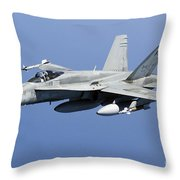 A Cf-188a Hornet Of The Royal Canadian Throw Pillow