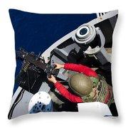 A Sailor Fires A .50-caliber Machine Throw Pillow