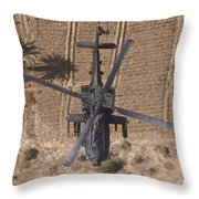 An Ah-64d Apache Helicopter In Flight Throw Pillow