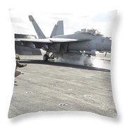 An Fa-18f Super Hornet Launches Throw Pillow