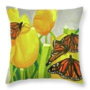 4 Butterflies Throw Pillow
