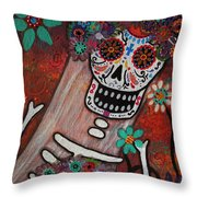 day of the dead BRIDE Throw Pillow