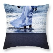 Girl At The Sea Throw Pillow
