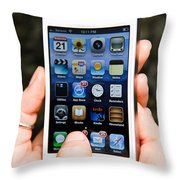 Hands Holding An Iphone Throw Pillow