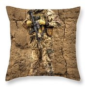 Hdr Image Of A German Army Soldier Throw Pillow by Terry Moore