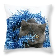 Kitten With Tinsel Throw Pillow
