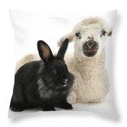 Lamb And Rabbit Throw Pillow
