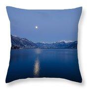 Moon Light Over An Alpine Lake Throw Pillow