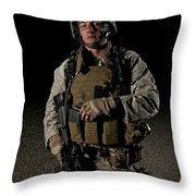 Portrait Of A U.s. Marine Throw Pillow