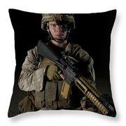 Portrait Of A U.s. Marine Wearing Night Throw Pillow