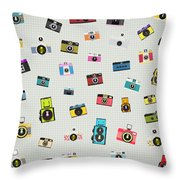 Retro Camera Pattern Throw Pillow
