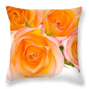 4 Roses Over White Throw Pillow