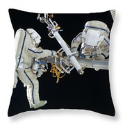 Russian Cosmonauts Working Throw Pillow