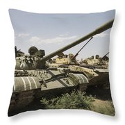 Russian T-54 And T-55 Main Battle Tanks Throw Pillow