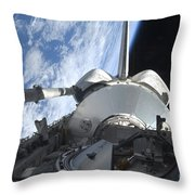 Space Shuttle Discovery Backdropped Throw Pillow