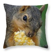 Squirrel Eating Sweet Corn Throw Pillow