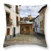 Street In Historic Albaycin In Granada Throw Pillow