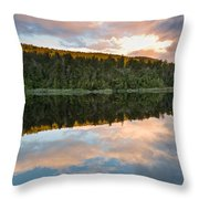 Sunrise Above A Lake On A Wind Still Morning Throw Pillow