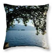 Sunshine Over An Alpine Lake Throw Pillow