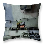 Tank Driver Of A Leopard 1a5 Mbt Throw Pillow by Luc De Jaeger