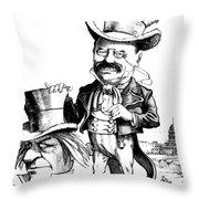 Teddy Roosevelt Cartoon Throw Pillow