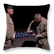 U.s. Marines Fold The American Flag Throw Pillow