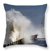 Waves Crashing By Lighthouse At Throw Pillow by John Short