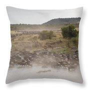 Wildebeest, Kenya, Africa Throw Pillow