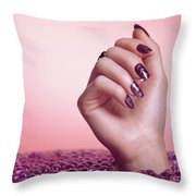 Woman Hand With Purple Nail Polish Throw Pillow