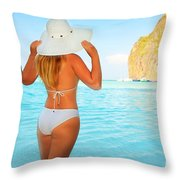 Woman On The Beach Throw Pillow