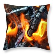 Wood Fire Throw Pillow