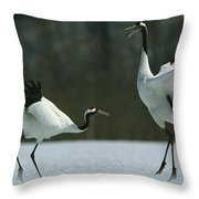 A Pair Of Japanese Or Red Crowned Throw Pillow