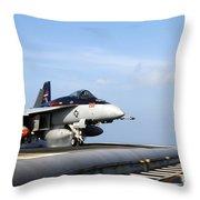 An Fa-18e Super Hornet Launches Throw Pillow