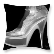 An X-ray Of A Foot In A High Heel Shoe Throw Pillow