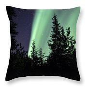 Aurora Borealis Above The Trees Throw Pillow