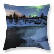 Aurora Borealis Over Tennevik River Throw Pillow