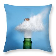 Champagne Cork Popping Throw Pillow
