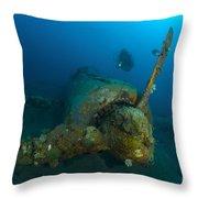 Diver Explores The Wreck Throw Pillow