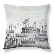 Fulton Steam Frigate, 1814 Throw Pillow