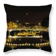 Hapenny Bridge, River Liffey, Dublin Throw Pillow