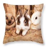 5 Little Rabbits Throw Pillow