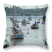Port Huron To Mackinac Race Throw Pillow