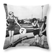 Silent Film Still: Golf Throw Pillow