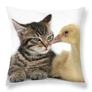 Tabby Kitten With Yellow Gosling Throw Pillow
