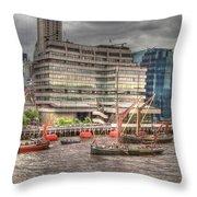 Thames Barges Tower Bridge 2012 Throw Pillow