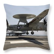 An E-2c Hawkeye Lands Aboard Throw Pillow by Stocktrek Images