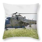 An Mi-35 Attack Helicopter At Kunduz Throw Pillow